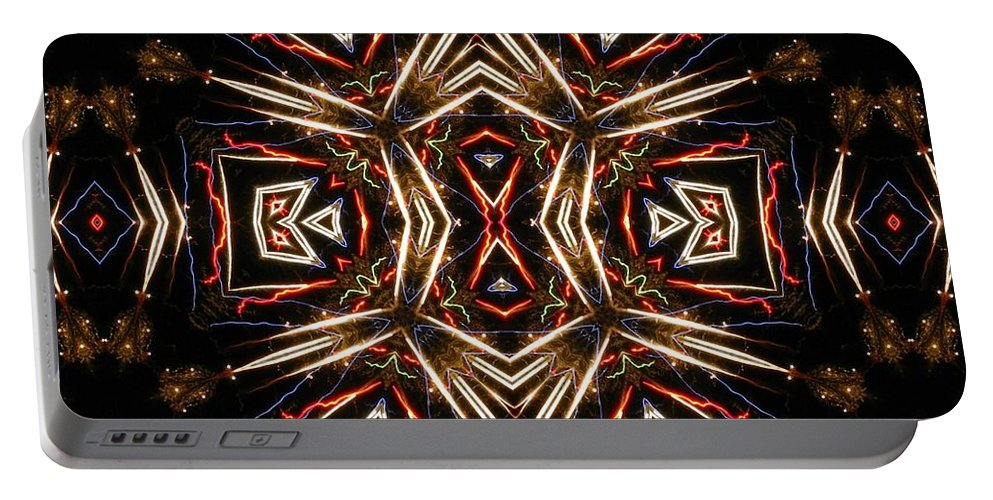 Kaleidoscope Portable Battery Charger featuring the photograph Neon Exploding Hourglass by M E Cieplinski