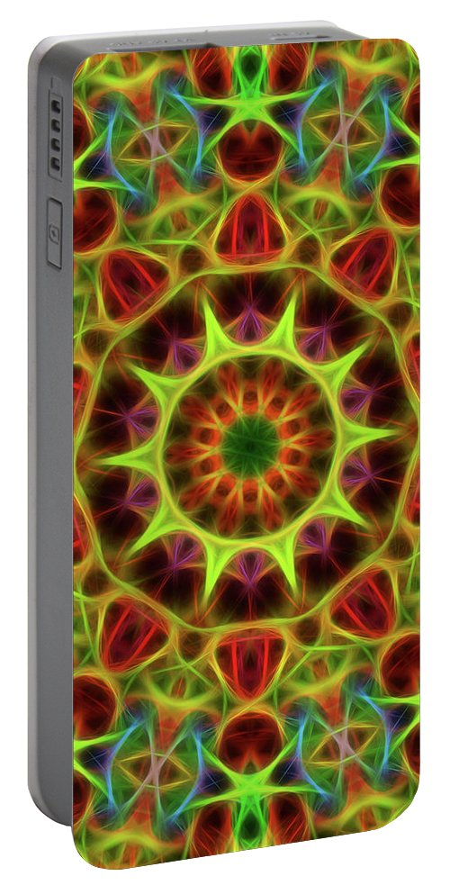 Mandala Art Portable Battery Charger featuring the painting Neon by Jeelan Clark