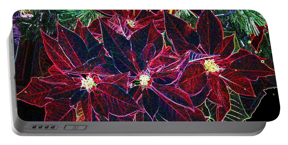 Flowers Portable Battery Charger featuring the photograph Neon Poinsettias by Nancy Mueller