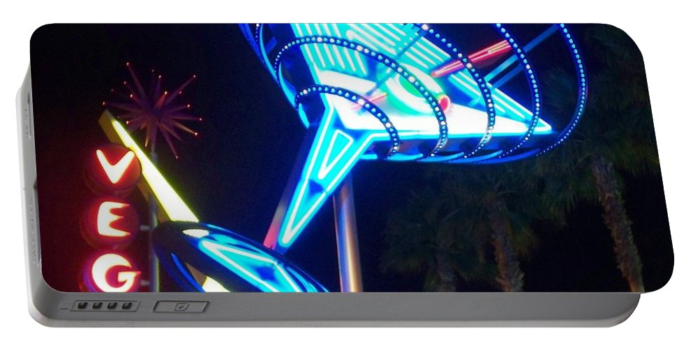 Vegas Portable Battery Charger featuring the photograph Neon Signs 1 by Anita Burgermeister