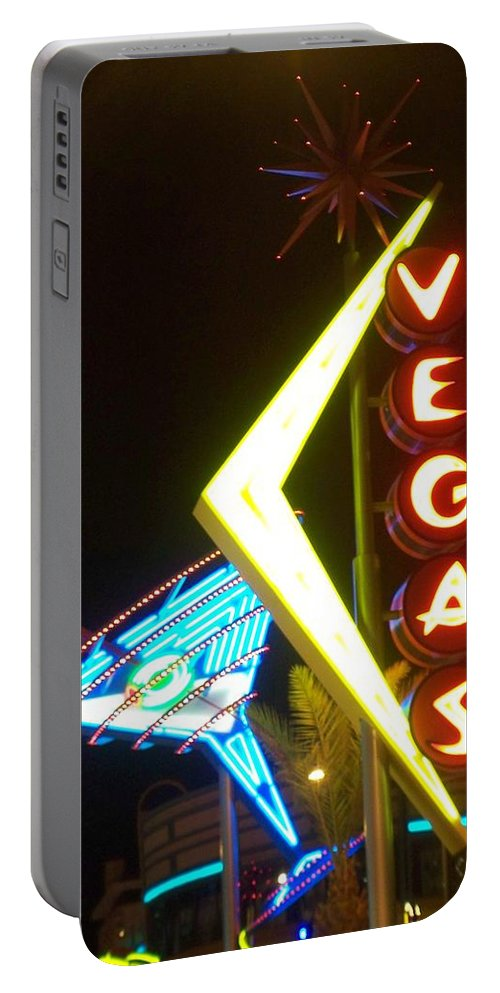 Fremont East Portable Battery Charger featuring the photograph Neon Signs 3 by Anita Burgermeister