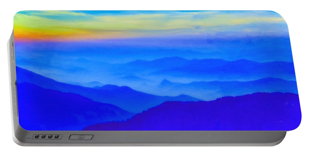 Nature Portable Battery Charger featuring the painting Nepal Sunrise by Celestial Images