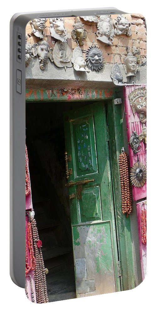 Nepal Portable Battery Charger featuring the photograph Nepalese Jewelry Shop by Dagmar Batyahav