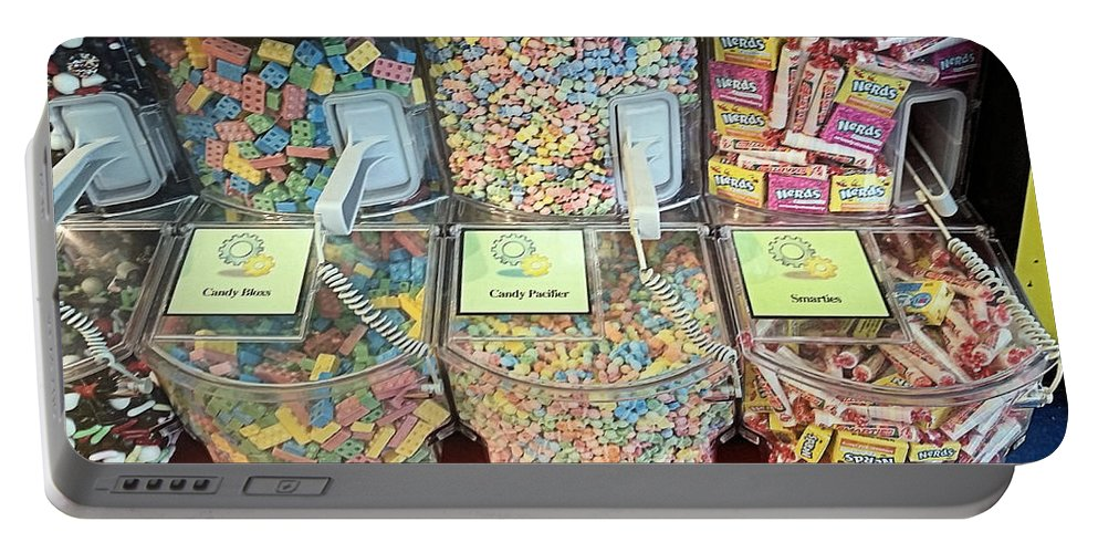 Candy Portable Battery Charger featuring the photograph Nerds Smarties And More Candies by Robert Banach