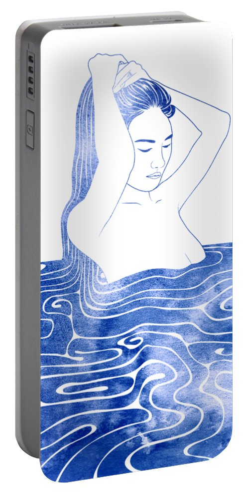 Selkie Portable Battery Charger featuring the mixed media Nereid Viii by Stevyn Llewellyn