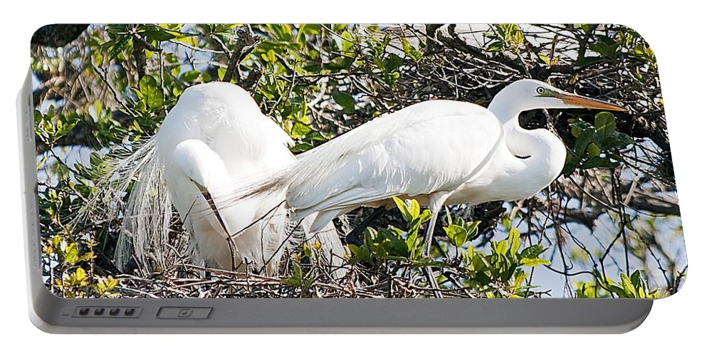 Egret Portable Battery Charger featuring the photograph Nest Building by Kenneth Albin