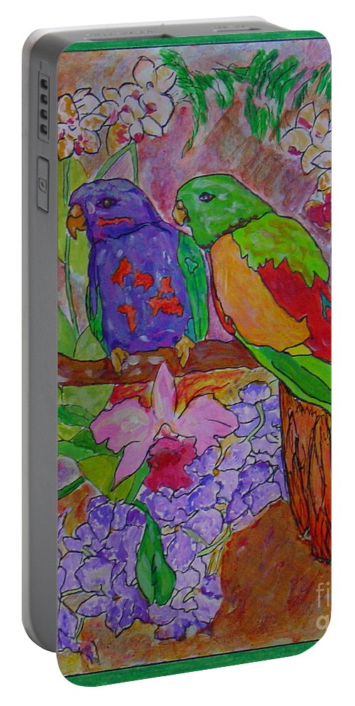 Tropical Pair Birds Parrots Original Illustration Leilaatkinson Portable Battery Charger featuring the painting Nesting by Leila Atkinson