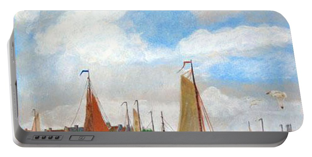 Netherlands Portable Battery Charger featuring the painting Netherland's Harbour by Richard Le Page