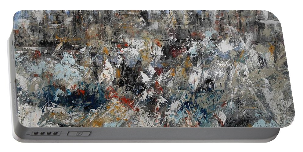 Paesaggio Terreste Con Neve Portable Battery Charger featuring the painting Neve In Periferia by Massimo Onnis