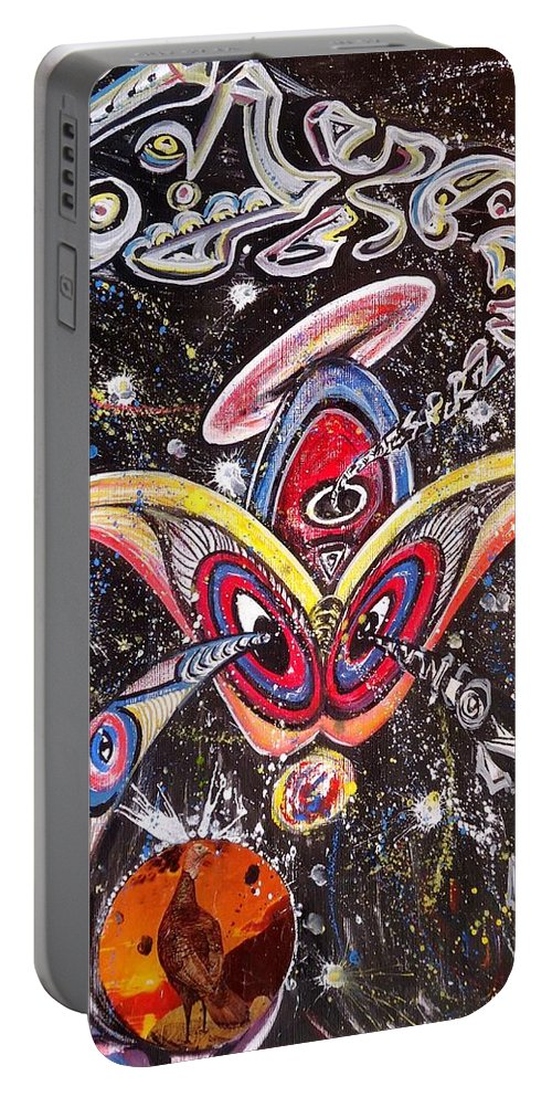 Never Lonely Portable Battery Charger featuring the painting Never Lonely' by Mbonu Emerem
