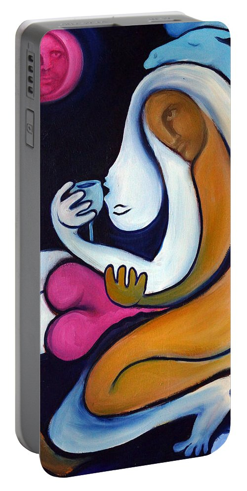 Abstract Portable Battery Charger featuring the painting Never Tear Us Apart by Valerie Vescovi