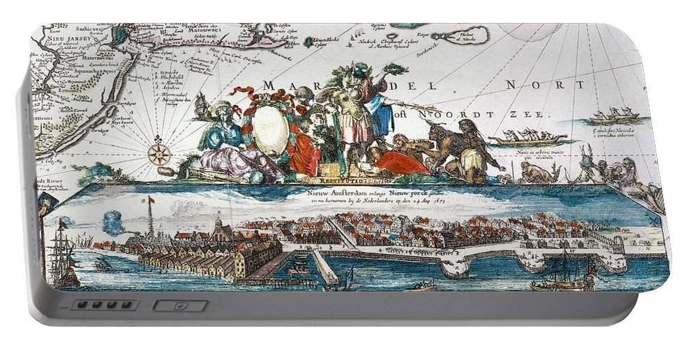 1673 Portable Battery Charger featuring the photograph New Amsterdam, 1673 by Granger