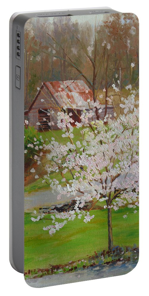 Landscape Portable Battery Charger featuring the painting New Blossoms Old Barn by Keith Burgess
