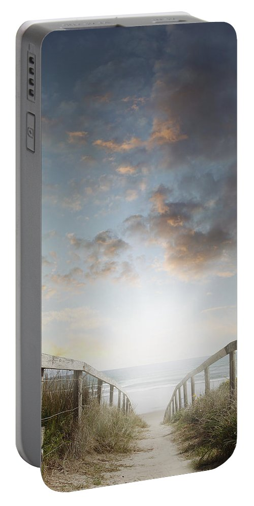 Beach Portable Battery Charger featuring the photograph New Day At The Beach by Les Cunliffe