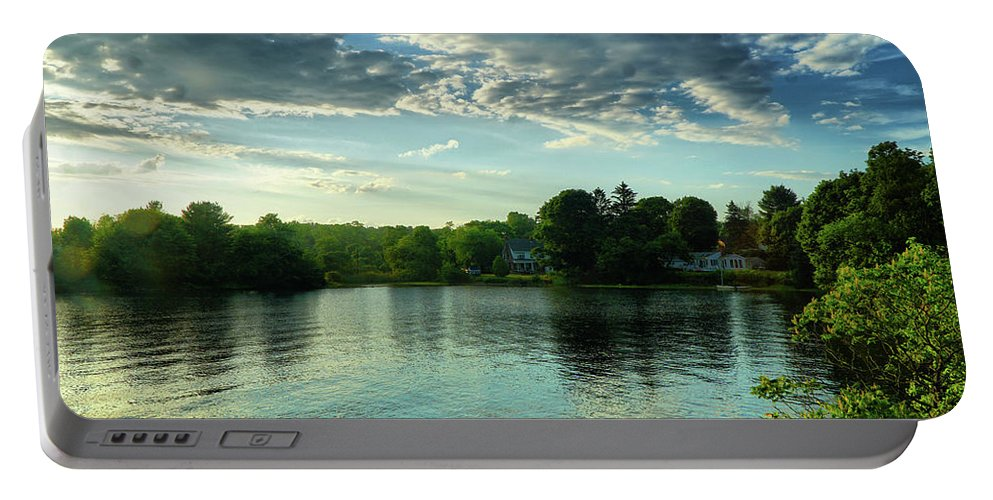 Summer Portable Battery Charger featuring the digital art New England Scenery by Lilia D