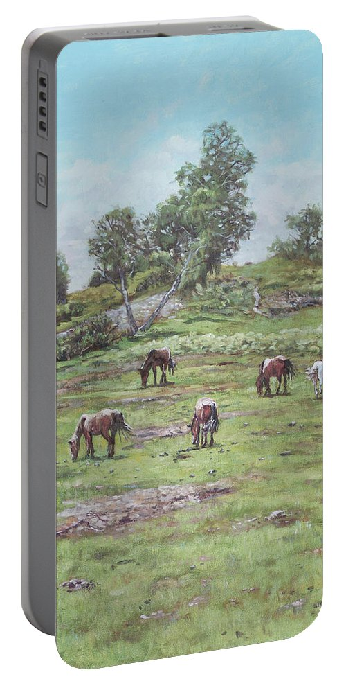 Horses Portable Battery Charger featuring the painting New Forest Lyndhurst Hampshire by Martin Davey