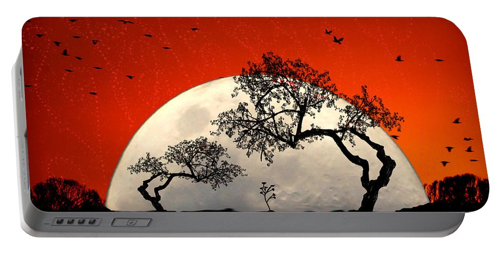 Moon Portable Battery Charger featuring the digital art New Growth New Hope by Holly Kempe