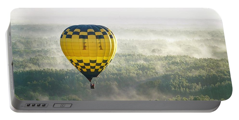 Hot Air Balloon Portable Battery Charger featuring the photograph New Heights by Christopher Bednarly