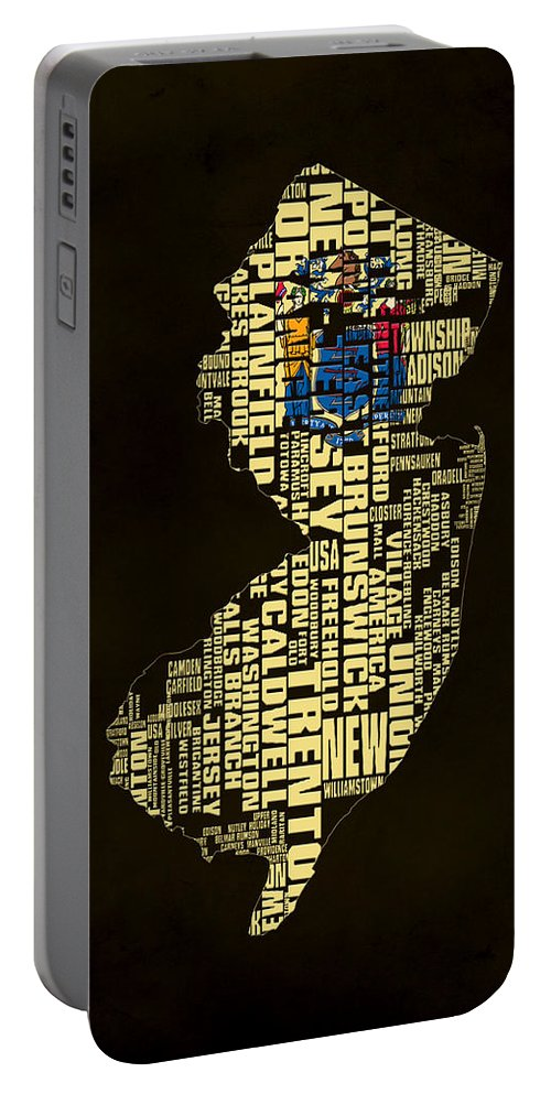 New Jersey Portable Battery Charger featuring the digital art New Jersey Typographic Map 02 by Brian Reaves