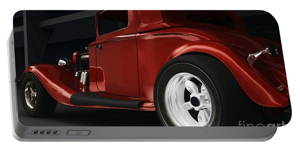 Street Rods Portable Battery Charger featuring the digital art New Kid In Town by Richard Rizzo