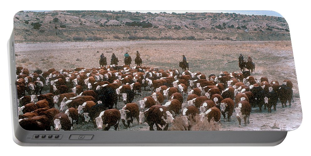 Cows Portable Battery Charger featuring the photograph New Mexico Cattle Drive by Jerry McElroy
