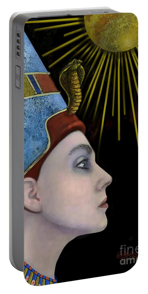 Nefertiti Portable Battery Charger featuring the digital art New Nefertiti by Carol Jacobs