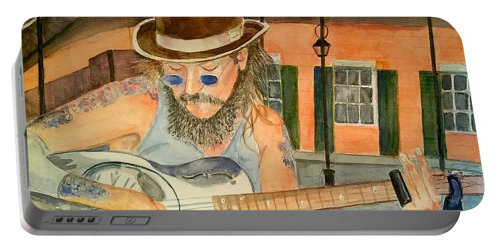 Portrait Portable Battery Charger featuring the painting New Orleans Street Musician by Linda Scharck