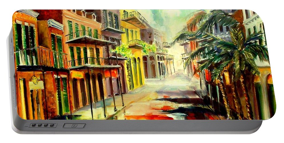 New Orleans Portable Battery Charger featuring the painting New Orleans Summer Rain by Diane Millsap