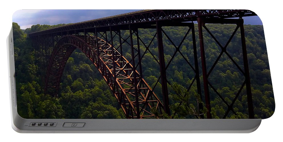Bridge Portable Battery Charger featuring the photograph New River Bridge by Pat Turner