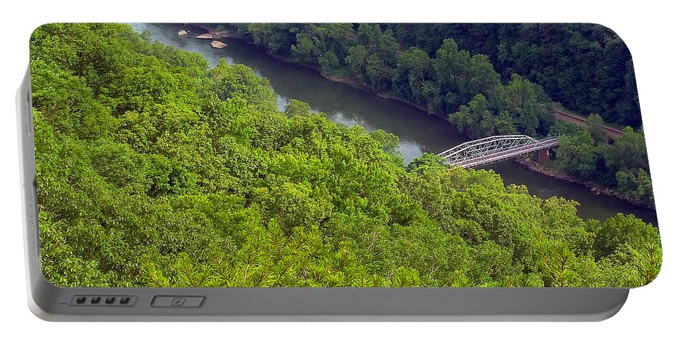 New River Portable Battery Charger featuring the photograph New River Old Bridge by Pat Turner