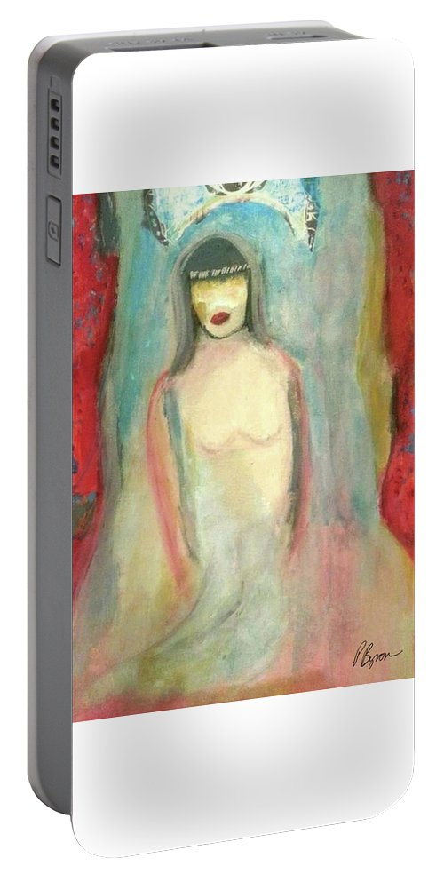 Red Portable Battery Charger featuring the painting Unveiled by Patricia Byron