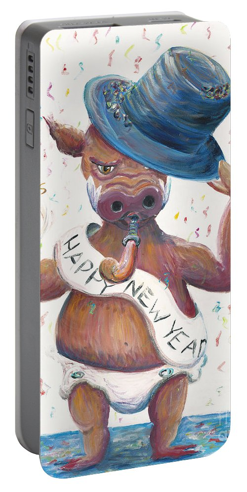 Hog Portable Battery Charger featuring the painting New Years Hog by Nadine Rippelmeyer