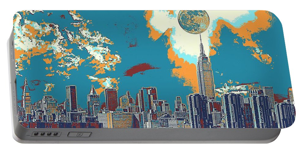 Nature Portable Battery Charger featuring the painting New York America Skyline - Manhattan by Celestial Images