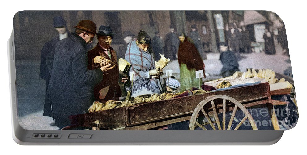 1900 Portable Battery Charger featuring the photograph New York: Banana Cart by Granger