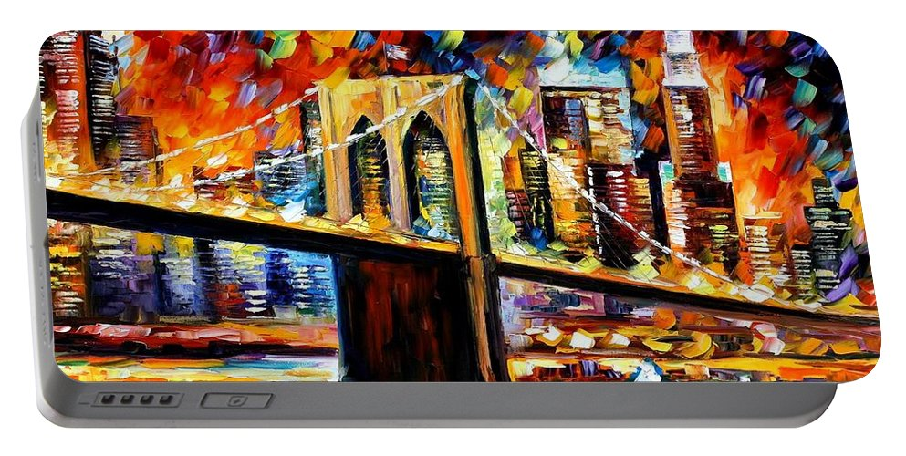 Afremov Portable Battery Charger featuring the painting New York Brookyln Bridge by Leonid Afremov