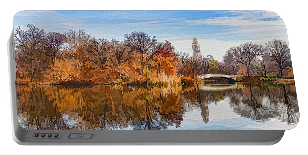 Georgia Mizuleva Portable Battery Charger featuring the digital art New York City Central Park Bow Bridge - Impressions Of Manhattan by Georgia Mizuleva