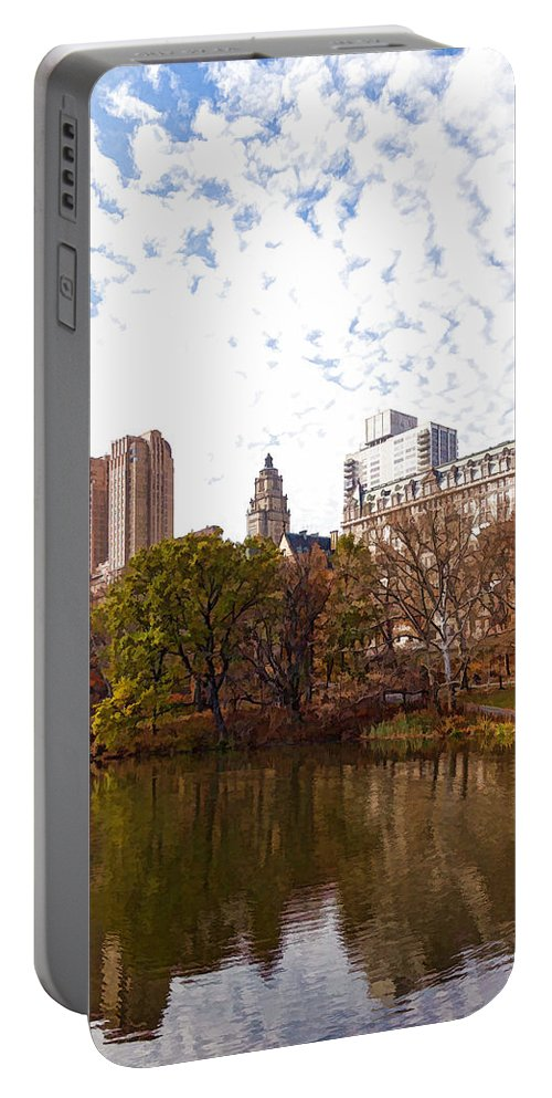 Georgia Mizuleva Portable Battery Charger featuring the digital art New York City Central Park Living - Impressions Of Manhattan by Georgia Mizuleva