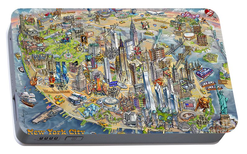 Cartoon Map Of New York City.New York City Illustrated Map Portable Battery Charger For Sale By