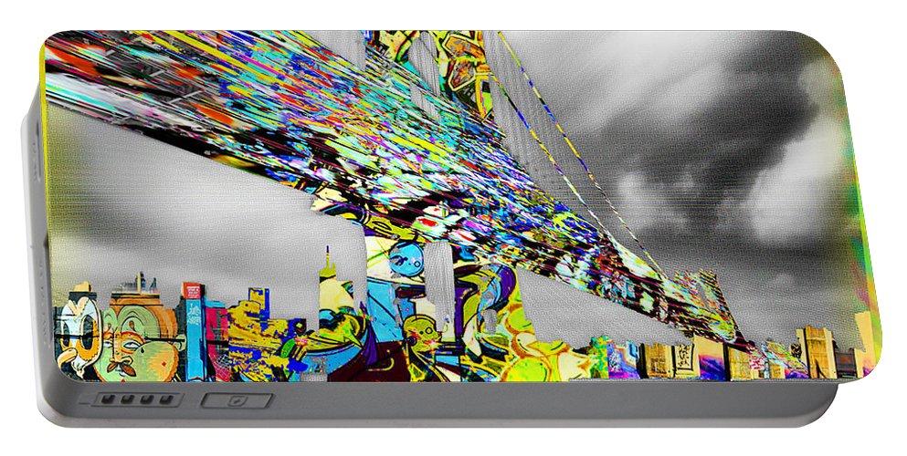 Manhattan Bridge Portable Battery Charger featuring the painting New York City Manhattan Bridge Pure Pop Gold by Tony Rubino
