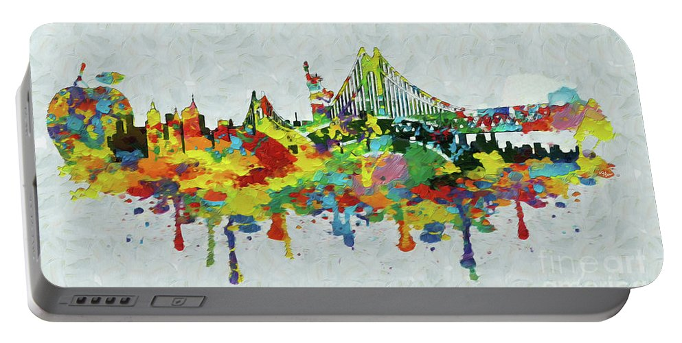 New York Portable Battery Charger featuring the painting New York City Panorama by Stefano Senise