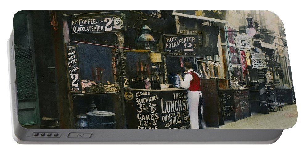 1905 Portable Battery Charger featuring the photograph New York City Restaurant by Granger