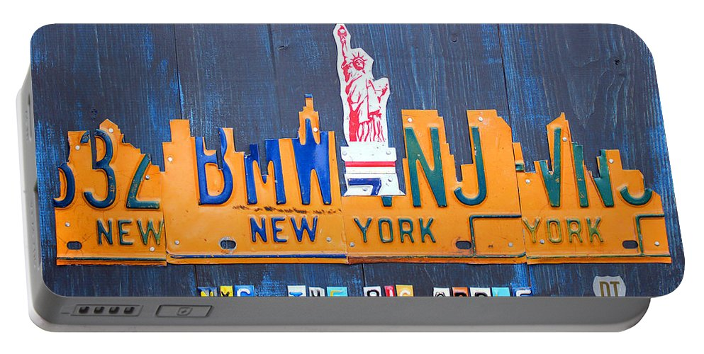 New York Portable Battery Charger featuring the mixed media New York City Skyline License Plate Art by Design Turnpike