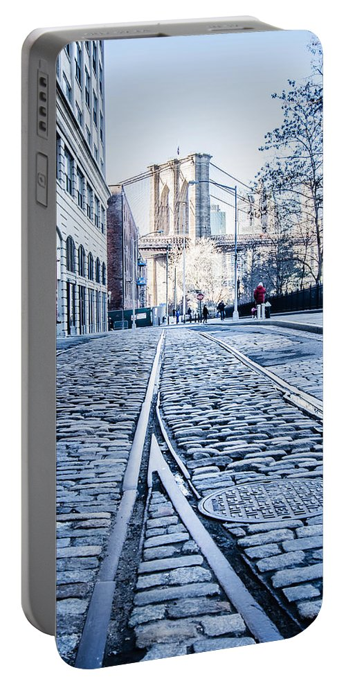New Portable Battery Charger featuring the photograph New York City Skyline With Brooklyn Bridge by Alex Grichenko