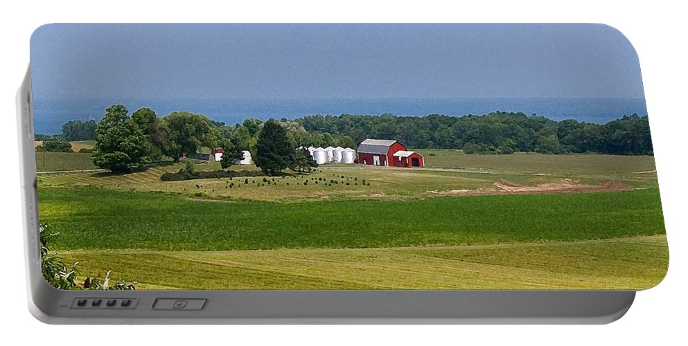 Farm Portable Battery Charger featuring the photograph New York Farmland by Patricia Bolgosano