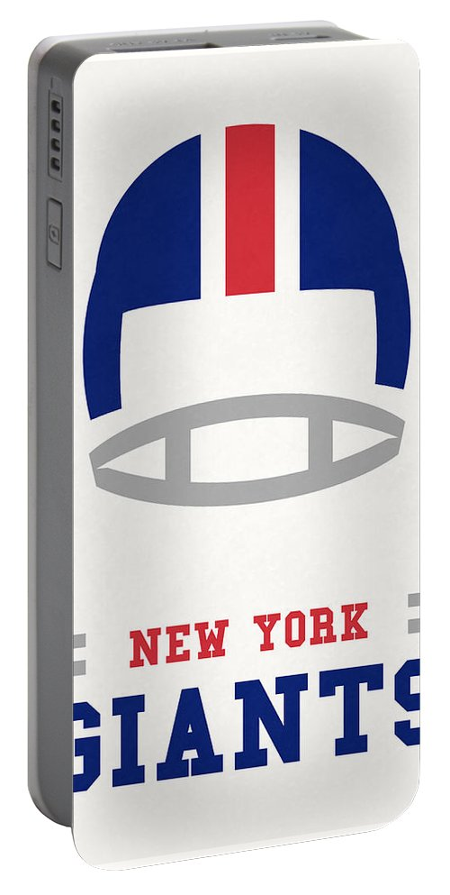 Giants Portable Battery Charger featuring the mixed media New York Giants Vintage Nfl Art by Joe Hamilton
