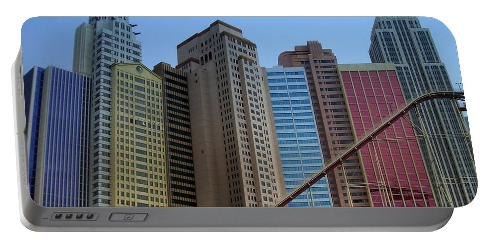 Vegas Portable Battery Charger featuring the photograph New York Hotel by Anita Burgermeister