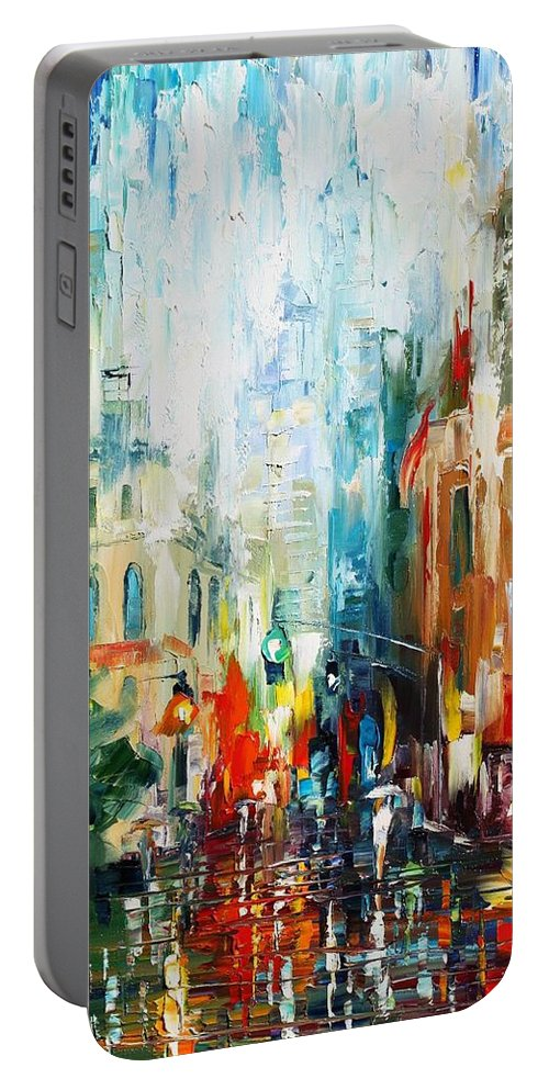 Afremov Portable Battery Charger featuring the painting New York by Leonid Afremov