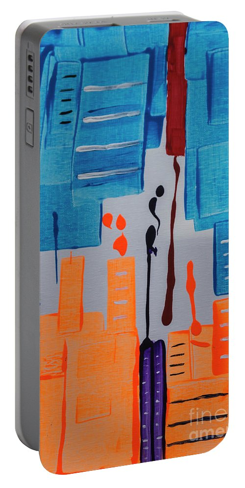Abstract Portable Battery Charger featuring the painting New York New York by Janice Pariza
