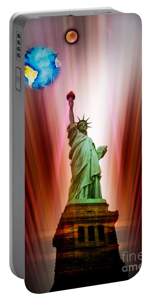 New York Portable Battery Charger featuring the painting New York Nyc - Statue Of Liberty 2 by Walter Zettl