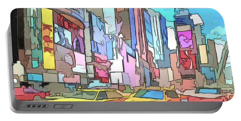 New York Portable Battery Charger featuring the painting New York On A Sunday by Keith Furness